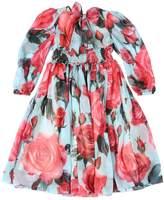Dolce & Gabbana Roses Printed Silk Chiffon Party Dress