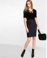 Express plaid below the knee pencil skirt