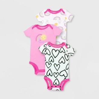 Lamaze Baby Girls' 3pk Organic Cotton Short Sleeve Bodysuit -