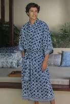 Men's Batik Robe from Indonesia, 'Navy Blue Nebula'