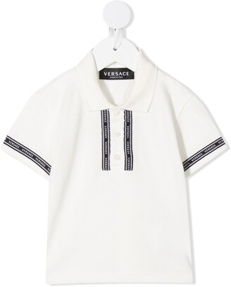 Versace Striped Logo Cotton Polo Shirt