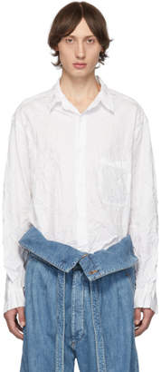 Yohji Yamamoto White Wrinkled Shirt