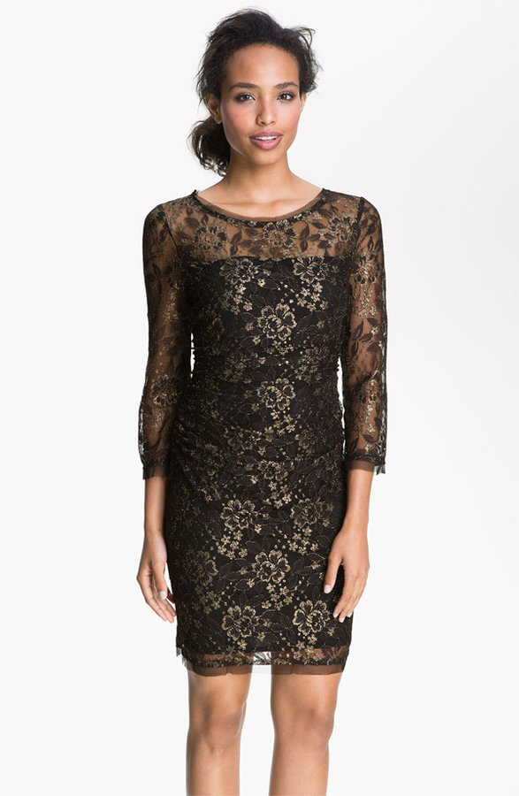 Max & Cleo Sheer Sleeve Metallic Lace Sheath Dress
