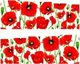 Set of 5 Water Transfer Nail Art Stickers Decal Beauty Red Tulip Flowers Oil Painting