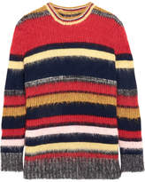 ALEXACHUNG Striped Knitted Sweater - Red