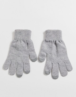 Asos Design DESIGN touch screen gloves in recycled polyester in gray