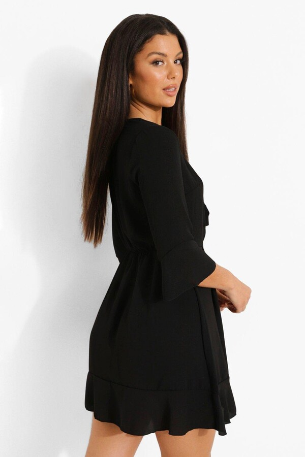 Thumbnail for your product : boohoo Tie Front Tea Dress