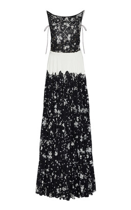 Lela Rose Pleated Floral-Print Lace Gown