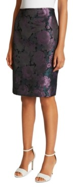 Tahari ASL Floral-Jacquard Pencil Skirt