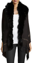 Roberto Cavalli Fox Fur Metallic-Stripe Shawl, Black