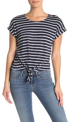 Frame Short Sleeve Stripe Linen T-shirt
