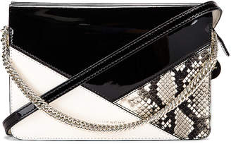 Givenchy Flat Mixed Leather Cross Bag in Black & White | FWRD