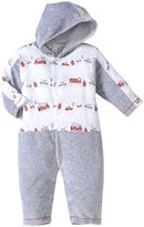 Kissy Kissy City Trucks Velour Hooded Playsuit (Baby) - Gray-9 Months