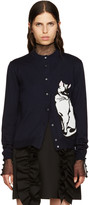 MSGM Navy Wool Cat Cardigan