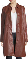 Theory Wilmore Leather Tie-Waist Mod Coat