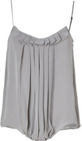 L'Agence LAgence Light Grey Pleated Silk Camisole