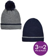 Very Boys Knitted Hats - Navy/Grey - 8-14 Years