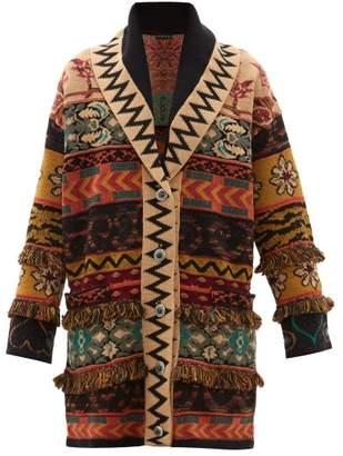Etro Patchwork Fringed Jacquard Cardigan - Womens - Brown Multi