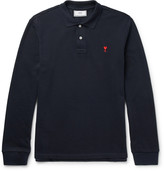Ami - Slim-fit Embroidered Cotton-piqué Polo Shirt