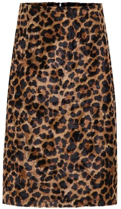 Rokh Leopard-print faux fur pencil skirt