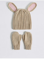 Marks and Spencer Kids' Bunny Hat & Mittens Set