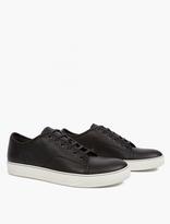 Lanvin Black Grained Leather Toe-Cap Sneakers