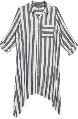 Sharagano Long Sleeve Stripe Print Handkerchief Hem Shirt Dress (Plus Size)