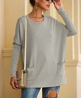 Coeur De Vague Coeur de Vague Women's Sweatshirts and Hoodies Gray - Gray Side-Pocket Scoop Neck Tunic - Women