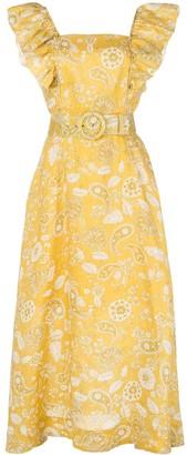 Nicholas Paisley-Print Belted Dress