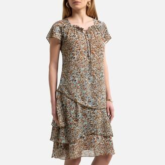 Anne Weyburn Printed Knee-Length Dress with Short Sleeves