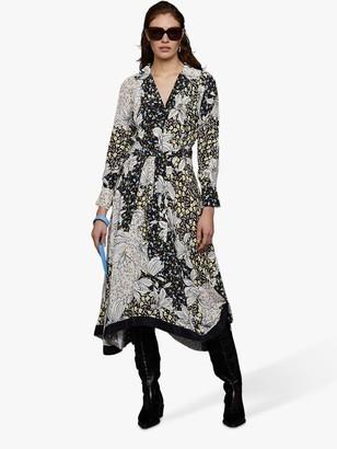 Jigsaw Flora Collage Drape Hem Dress, Black/Multi