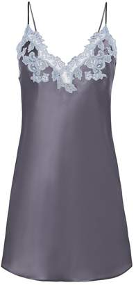 La Perla Maison Grey Silk Slip With Lurex Frastaglio