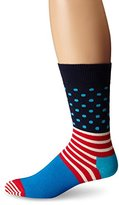 Happy Socks Men's Unisex Combed Cotton Crew - Blue Stripes and Dots (Pack of 1)