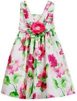 Bonnie Jean Girls Dress, Little Girls Floral Clip-Dot Dress