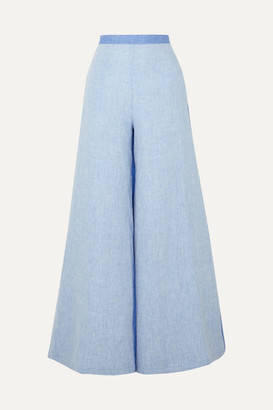 Miguelina Pamela Two-tone Linen-chambray Wide-leg Pants - Azure