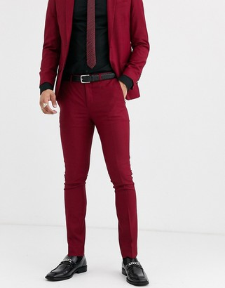 Twisted Tailor Hemmingway super skinny suit trousers in burgundy