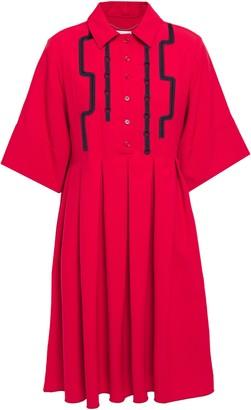 Carven Crochet-trimmed Pleated Woven Mini Shirt Dress