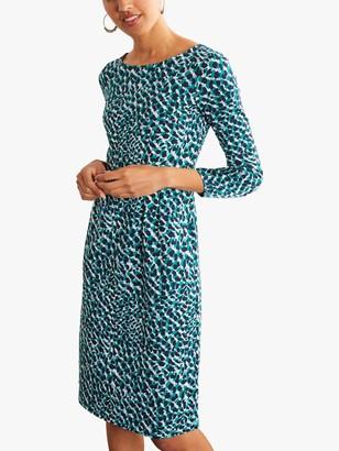 Boden Penny Jersey Animal Print Knee Length Dress, Ivory