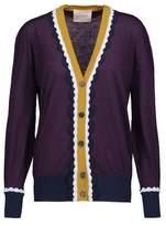 Roksanda Heddon Color-Block Ruffled Wool Cardigan