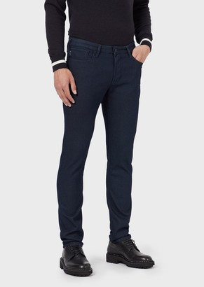 Emporio Armani Slim-Fit Textured Jeans In Dyed Thread