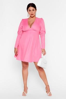 Nasty Gal Womens V How It Goes Plus Puff Sleeve Mini Dress - Pink