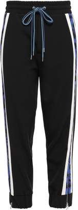 Just Cavalli Cropped Striped Stretch-crepe Track Pants