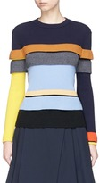 Enfold Colourblock tiered rib knit sweater