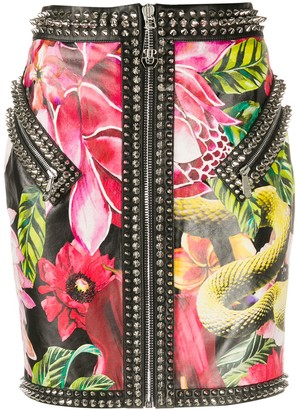 Philipp Plein Floral-Print Mini Skirt