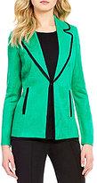 Misook Notch Lapel Collar Long Sleeve Solid Jacket