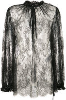 Alexander McQueen sheer lace blouse - women - Cotton/Polyamide - 40