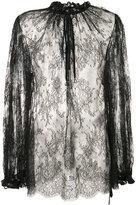 Alexander McQueen sheer lace blouse - women - Cotton/Polyamide - 42