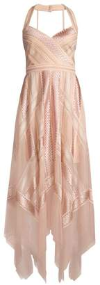 BCBGMAXAZRIA Lace Handkerchief Halter Dress