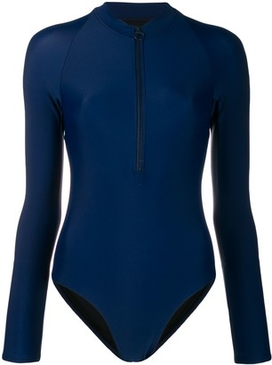 Perfect Moment Zip-Front Long-Sleeve Swimsuit