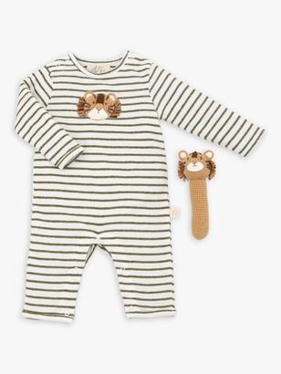 Albetta Organic Cotton Tiger Babygro and Crochet Rattle Gift Set